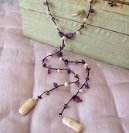 Amethyst, pearl and silver lariat